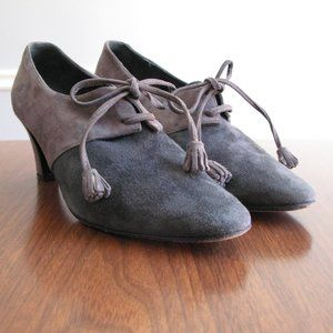 80s vintage Donna Karan gray suede heels shoes 6.5